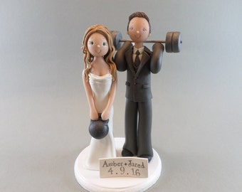 Cake Toppers - Bride & Groom with Weights Custom Made Wedding Cake Topper