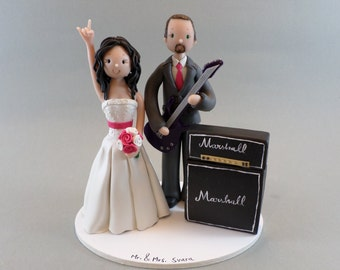 Bride & Groom with a Guitar and Amp Custom Wedding Cake Topper