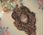 Tiny Dancer - SALE - Beaded Fiber Assemblage Necklace - REDuCED