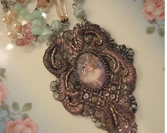 Tiny Dancer - Beaded Fiber Assemblage Necklace
