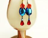 Iridescent Peacock Crystal Earrings Blue Red Crystal Earrings Vintage Rainbow Glass AB Rhinestone Glamorous Victorian Statement