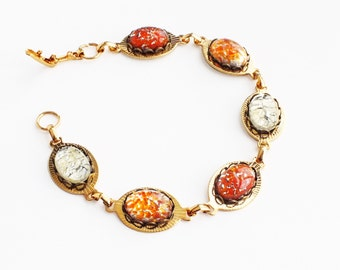 Orange Glass Bracelet Gold Chain Bracelet Large Chunky Bracelet Vintage Foiled Glass Opal Bracelet