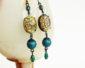 Rainbow Opal Earrings Long Opal Dangles Vintage Glass Fire Opal Earrings Gold Teal Green Statement Jewelry Yellow Rhinestone Earrings