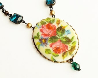 Victorian Pink Rose Necklace Large Vintage Floral Cameo Necklace Green Pink Floral Jewelry Statement Rose Jewelry