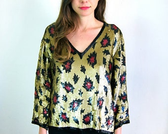Sequined 80's Patterned Top