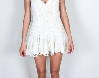 Pretty Cream Lace 80's Dress