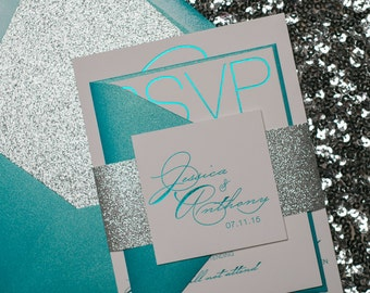 Foil  - Teal and Silver Glitter Modern Wedding Invitations - SAMPLE (Jessica)
