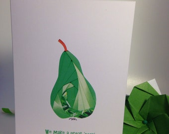 Valentine's Card - Iris folded scene greeting card (printed) - we make a great 'pear'