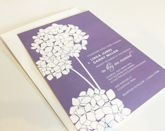 Floral Wedding Invitation, Hydrangea, Purple Wedding Invitations