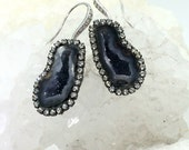 Tabasco Geode Earrings Black Raw Gemstone Slice Statement Dangle Pave Diamond Style Swarovski Crystal - Felicia