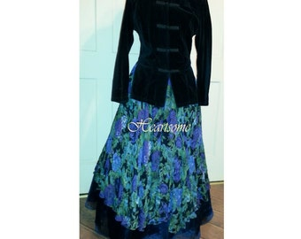 Victorian Gown Dress vintage floral with asian style jacket OOAK ball stage costume