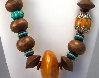 Turquoise and Amber Necklace   Long Necklace   Tribal Necklace   Copal Amber Necklace   Statement Necklace   Summer Necklace
