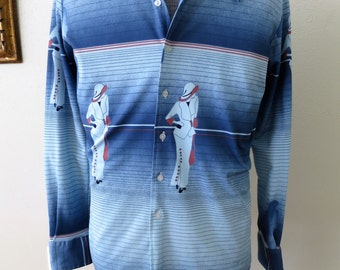 1970s Blue Art Deco Inspired Men's Shirt - Disco Infernal - Groovy Polyester Baby!