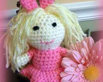 Hand Crochet Doll, Little Girl Doll, Easter Basket