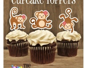 Monkey Birthday Party - Set of 12 Monkey Girl Trio Cupcake Toppers by The Birthday House