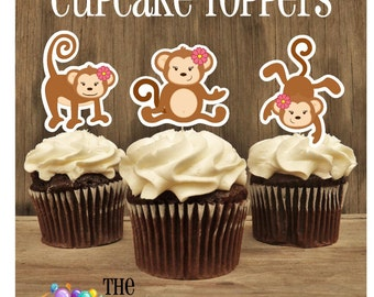 Monkey Birthday Party - Set of 12 Double Sided Assorted Monkey Girl Trio Cupcake Toppers by The Birthday House