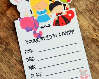 Alice in Wonderland Party - Set of 8 Wonderland Invitations by The Birthday House