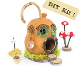 Fairy Garden Craft Kit for kids and adults, DIY Gourd Gnome Home Kit Fairy House Furniture, All Natural Eco Friendly Birthday Gift