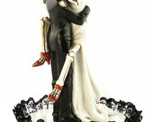 Black Lace Day of the Dead Sexy Skulls Wedding Cake Topper - Custom Painted Hair Color Available - 104014