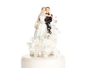 Vintage Elegant Rose Wedding Cake Topper - Custom Painted Hair Color Available - 100923R