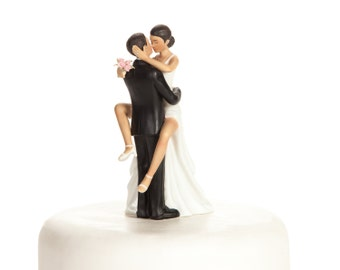 Funny Sexy African American Wedding Cake Topper - Custom Painted Hair Color Available - 706504