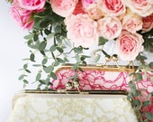 Antique Gold Peony Lace Clutch | Bridal and Bridesmaids Gold Purse