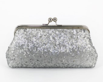 Metallic Matt Silver Sequins Tulle Clutch | Bridesmaids | Mother's Clutch