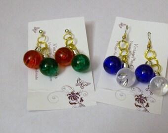 Christmas Bulb Earrings, Cluster Earrings, Christmas Earrings, Dangle Earrings