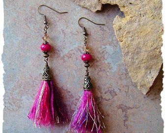 Boho Rustic Tassel Earrings, Boho Style Textile Beaded Earrings, Gypsy Mixed Media Earrings, BohoStyleMe, Kaye Kraus