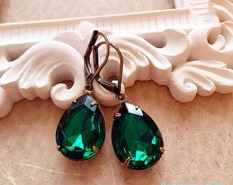 Emerald Earrings - Victorian Jewelry - Art Deco Jewelry - Estate Style - CAMBRIDGE Emerald