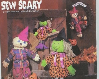 Hallmark Sew Scary scarecrow and Witch Pattern Simplicity 7418 Two Size Witches or Scarecrows 18 inch 30 inch Halloween Decorative Craft