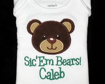 Custom Personalized Applique BEAR with Words and Name Bodysuit or Shirt - Brown, Tan, and Green