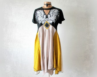 Art To Wear Dress Trendy Fall Clothing Recycle Eco Wear Boho Women's Tunic Goth Clothes Black Draped Dress Unusual Festival Top S M 'JOCELYN