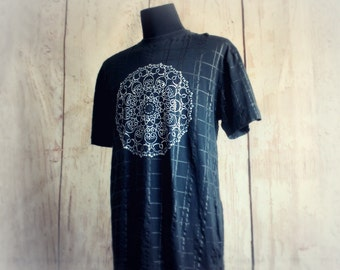 Men's Upcycled Shirt Black T-Shirt Hand Painted Mandala Print Athletic Fit Slim Fit Unique Clothing Eco Conscious Up Cycled Tee Size Large