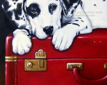 Dalmatian on Vintage Red Suitcase 11x14 Original OIL Painting by Lara Pet Portrait