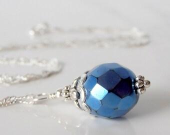 Blue Pendant Necklace, Horizon Blue Bridesmaid Jewelry Metallic Glass Bead Pendant Beaded Wedding Jewelry Handmade Bridesmaid Gift Under 20