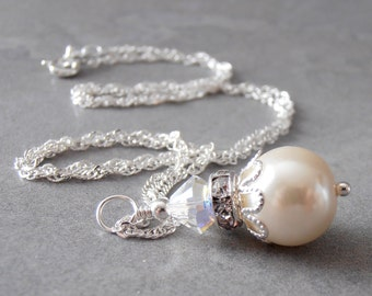 Ivory Pearl Necklace Pearl and Crystal Bridesmaid Jewelry Ivory Wedding Jewellery Beaded Pendant 16 18 20 Inch Silver Chain Cream Bridesmaid