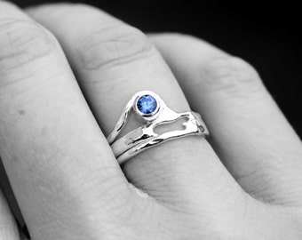 Sterling Silver Blue Sapphire Ring, Organic Silver Ring, Recycled Silver Gemstone Ring, Gift Idea, Unique Silver Ring, by Elementisle