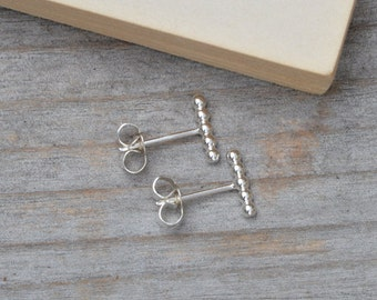 Beaded Stick Earring Studs In Sterling Silver, Simple Stick Earring Studs Handmade In England