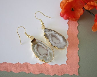 Geode Earrings Gold, Crystal Slice Earrings, Agate, BoHo Jewelry, Druzy Gold Earrings, Drusy Earrings, GGE46