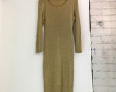 Sexy Knit Gold Metallic Long-Sleeved Body Con Holiday Christmas New Year's Eve Maxi Dress - Size Medium to Large