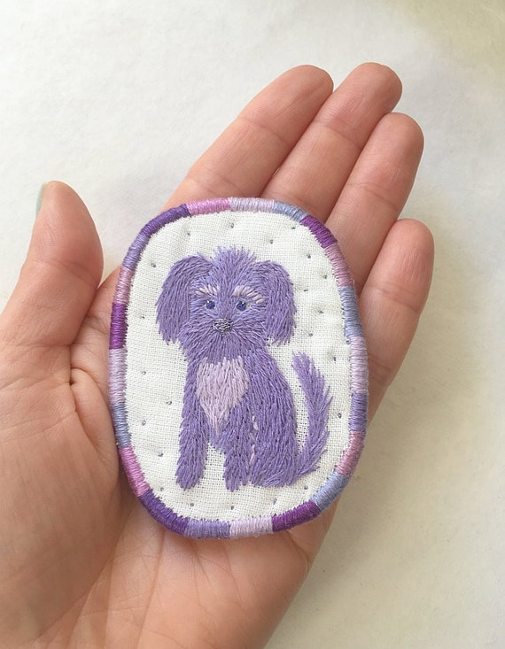 Textile Pet Portrait Brooch - Lilac Dog -  Funny Dogs - collection, hand embroidered textile dog jewelry