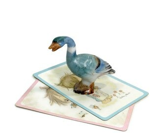 Vintage GOOSE Figurine | Miniature Bird | Hand Painted | Blue Goose | Bone China | Made In Japan | Mid Century | Home Decor | Bird Lover
