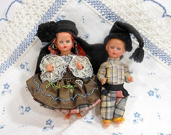 Vintage Dolls Small Plastic Sleep Eyes Couple Handsewn Ethnic Costume Doll Clothes Felt Wool Boy Girl Strung Collectible PeachyChicBoutique