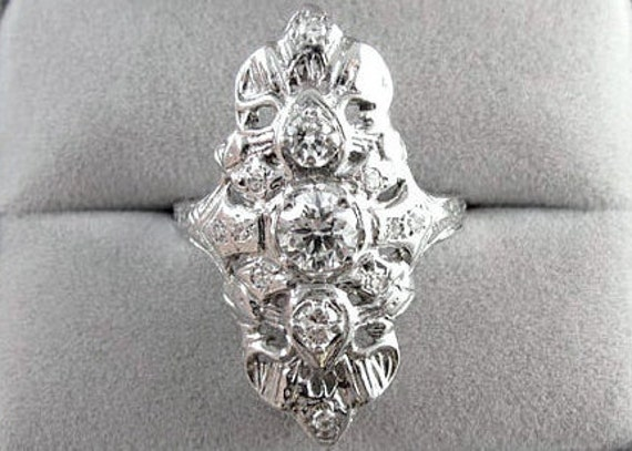 Vintage Art Deco 14k white gold filigree 1 carat diamond statement navette ring
