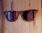 Sunglasses mirror burnt wood 30 x 10 x 3/4 with hand cut mirrors