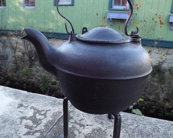 Antique Civil War Era Large Cast Iron Tea Kettle and Fire Stand by Thomas Robert Stevenson & Co. Philadelphia