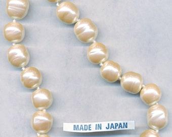 14MM JAPANESE GLASS PEARLS vintage baroque glass pearls handmade