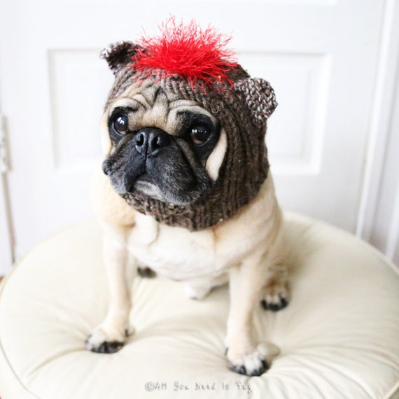 Sock Monkey Dog Hat - Dog Costume - Dog Clothing - Pet Costume - Pet Hat - Pug Hat