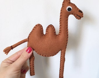 camel stuffed animal - cinnamon felt camel stuffed animal - hand sewn OOAK camel by HibouDesigns